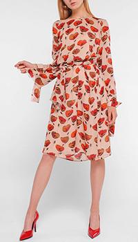 Платье Luisa Cerano бежевого цвета под пояс, фото