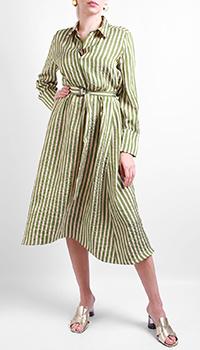 Зеленое платье-рубашка Luisa Cerano в полоску, фото