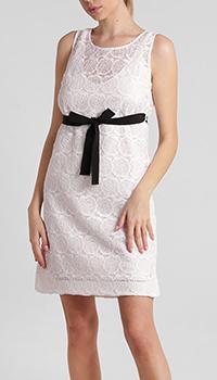Белое платье D.Exterior кружевное с поясом, фото