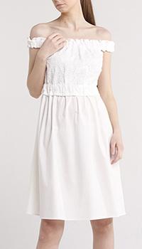 Белое платье Blugirl Blumarine с кружевной вставкой, фото