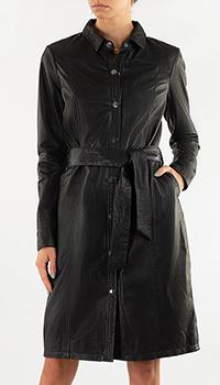 Кожаное платье-рубашка Repeat Cashmere черного цвета, фото