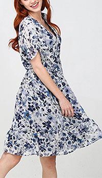 Платье Twin-Set с цветочным принтом синего цвета, фото