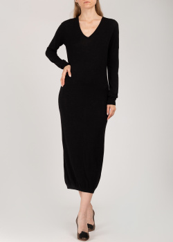 Шелковое трикотажное платье Patrizia Pepe черного цвета, фото
