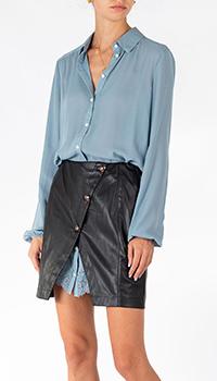 Комбинированное платье-рубашка Patrizia Pepe до колен из экокожи, фото
