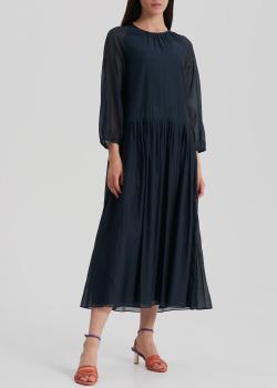 Темно-синее платье S Max Mara из хлопка и шелка, фото