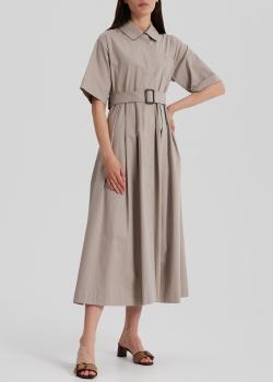 Серое платье-миди S Max Mara с боковыми карманами, фото