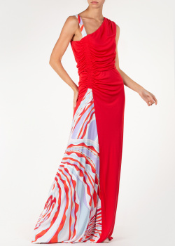 Длинное красное платье Emilio Pucci с контрастной вставкой, фото