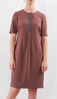 Платье с коротким рукавом Fabiana Filippi бордового цвета, фото