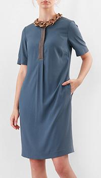 Синее платье Fabiana Filippi с коротким рукавом, фото