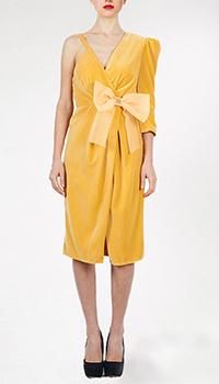 Желтое платье Elisabetta Franchi с бантом, фото