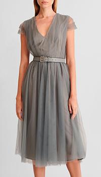 Серое платье-миди Fabiana Filippi с кожаным ремнем, фото