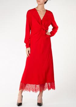 Красное платье Self-Portrait с кружевом по подолу, фото