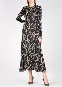 Черное платье Paco Rabanne с золотистыми цветами, фото
