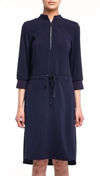Синее платье-рубашка Bogner Violet с рукавом 3/4, фото
