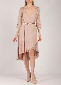 Бежевое платье Iva Nerolli с ассиметричным подолом, фото