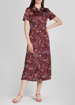 Платье-рубашка Alexa Chung бордового цвета, фото