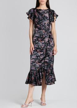 Шелковое платье Cinq a Sept со сборкой и воланами, фото