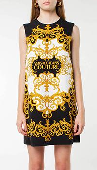 Черное платье Versace Jeans Couture с золотым принтом, фото
