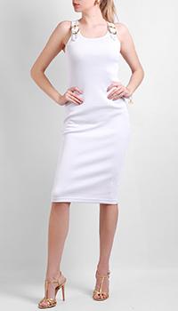 Белое платье Versace Jeans Couture с мелкими рубчиками, фото