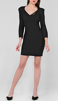 Черное платье Cavalli Class со стразами по вороту, фото