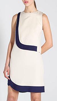 Белое асимметричное платье DVF с синими вставками, фото