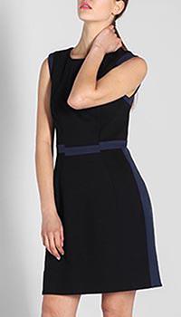 Платье-футляр DVF черного цвета с синей вставкой на поясе, фото