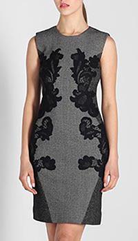 Платье-футляр DVF серого цвета с черным кружевом, фото