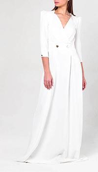 Длинное платье Elisabetta Franchi белого цвета, фото