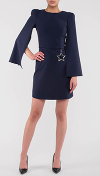 Темно-синее платье Elisabetta Franchi симметричного кроя, фото