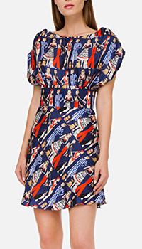 Синее платье Elisabetta Franchi с принтом, фото