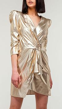 Золотистое платье Elisabetta Franchi на запах, фото