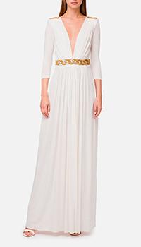Белое платье Elisabetta Franchi в пол, фото