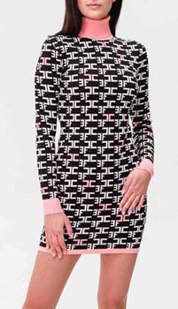 Трикотажное платье Elisabetta Franchi с графичным узором, фото