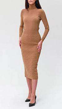 Бежевое платье Elisabetta Franchi с фактурным узором, фото