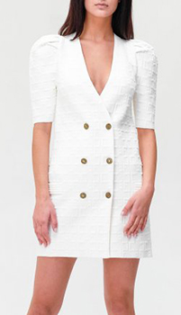 Белое платье Elisabetta Franchi с брендовым тиснением, фото