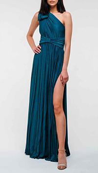 Синее вечернее платье Elisabetta Franchi на одно плечо, фото