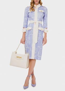Платье-миди Elisabetta Franchi сиреневого цвета, фото