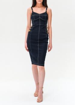 Джинсовое платье-футляр Elisabetta Franchi на бретелях, фото