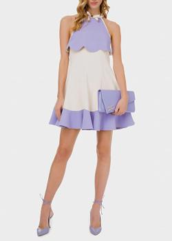 Двухцветное платье Elisabetta Franchi с декором-бантом, фото