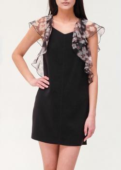 Черное платье Elisabetta Franchi с контрастными оборками, фото