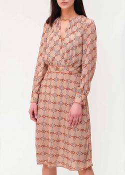 Бежевое платье Elisabetta Franchi с фирменным принтом, фото