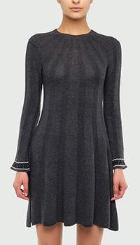 Серое платье Emporio Armani с логотипом на рукавах, фото