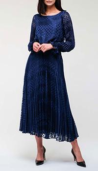 Синее платье Emporio Armani с плиссированной юбкой, фото