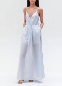 Голубое платье на бретелях Emporio Armani с карманами, фото