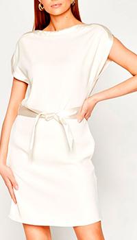 Молочное платье Emporio Armani с атласным поясом, фото