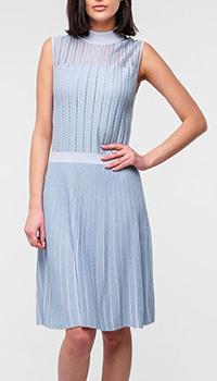 Платье Emporio Armani с высоким воротником голубого цвета, фото
