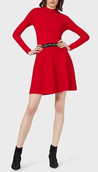 Кашемировое платье Emporio Armani с логотипом на поясе, фото