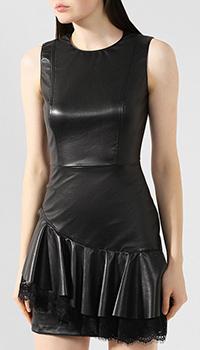 Платье из экокожи Ermanno Scervino с асимметричными оборками, фото