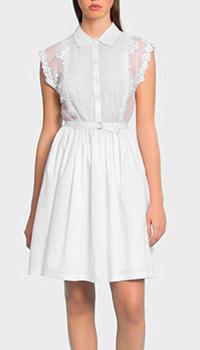 Белое платье Ermanno Ermanno Scervino с логотипом на поясе, фото