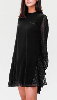 Черное платье Ermanno Scervino с прозрачными рукавами, фото